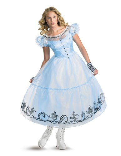 Disguise Women's Alice in Wonderland Deluxe Costume, Blue, Medium (8-10) -