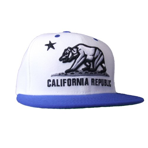 WHANG California Bear Logo Flag Republic Flat Bill Snapback - One Size - White / Royal (Fashion Bear Logo Cap)