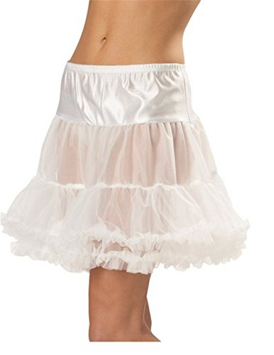 Women's Ruffled Pettiskirt (Large, White) (Ruffled White Pettiskirt)