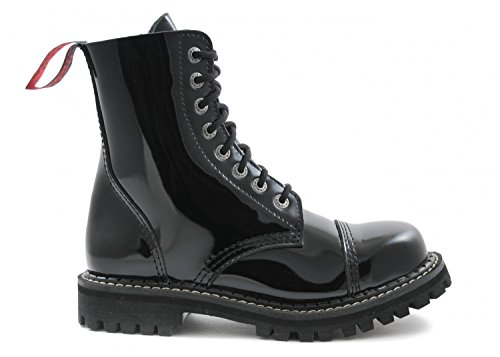 ANGRY ITCH - 8-Loch Gothic Punk Army Ranger Armee Lackleder Stiefel mit Stahlkappe