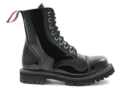 ANGRY ITCH 8-Loch Gothic Punk Army Ranger Lackleder Schwarz Armee Stiefel mit Stahlkappe - Größen 36-48 - Made in EU!