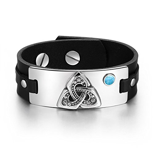 Celtic Triquetra Knot Magic Powers Amulet Tag Simulated Turquoise Adjustable Black Leather Bracelet