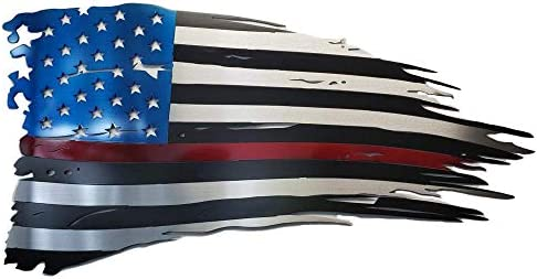 Metal Art of Wisconsin Firefighters Red Line Old Glory 4 Footer