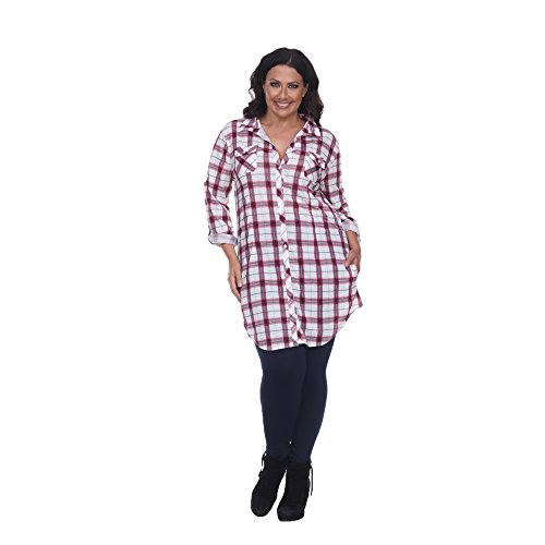 White Mark 'Piper' Button-Front Plaid Dress Shirt in Red & White - 2X from White Mark
