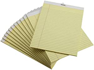 AmazonBasics Canary Legal Pads, 8.5 x 11.75 Inches, 12 Pack (53400AMZ)