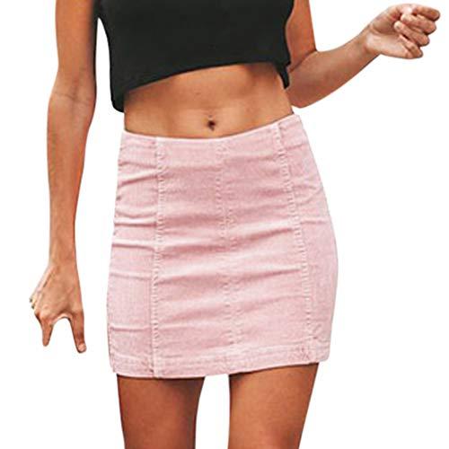 Pinstriped Skirt Pencil - RAINED-dress Women High Waist Pencil Skirt Casual Sexy Zipper Bodycon Hip Short Mini Skirt Solid Color Skirt Pink