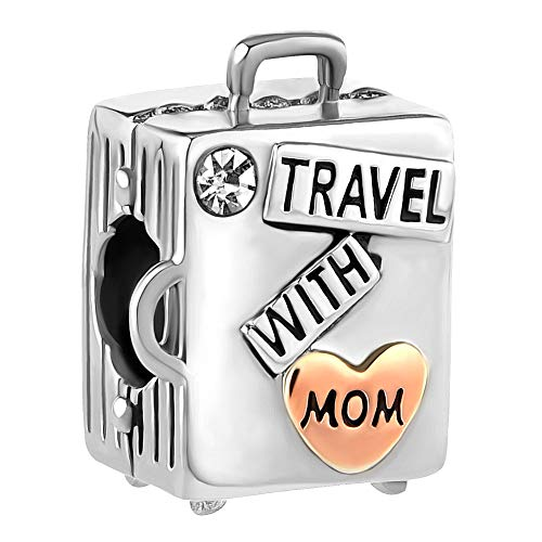 (ReisJewelry Love Travel Charms Sydney Hawaii London Rome Pisa Tower Eiffel Tower Charm Bead for Bracelets (Travel with Mom Silver Plated))