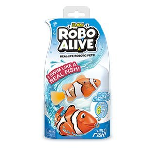 (New Zuru Robo Alive Little Fish Collection Real-Life Robotic Pets - Water Activated LITTLE CLOWNFISH - Swims like a Real Fish an)