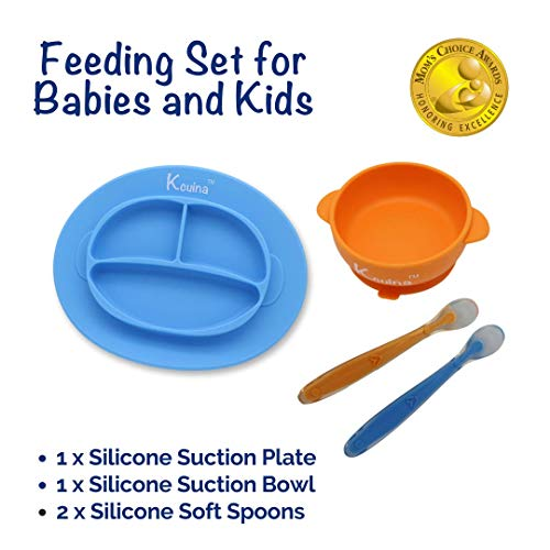 Kcuina 4 Pieces Baby Feeding Set- Includes 1 Strong Suction Divided Plate, 1 Strong Suction Bowl, and 2 Soft Spoon Set- Food Grade & FDA Approved Silicone (Blue/Orange)