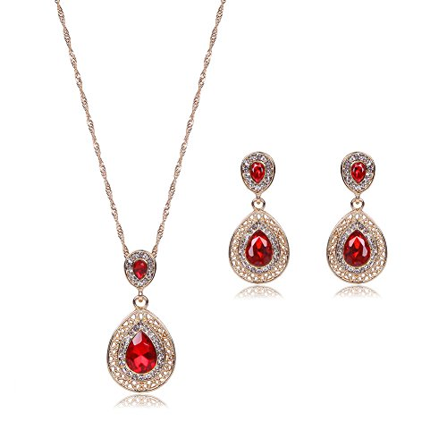 (MYANAIL Openwork Waterdrop Crystal Cubic Zirconia Necklace Earring Set,Hollow Teardrop Gemstone Pendant Necklace Drop Earrings Jewelry Set (Red))