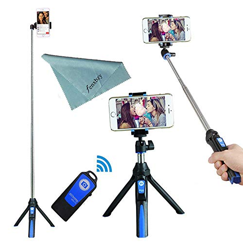 BENRO Handheld Tripod 3 in 1 Self-Portrait Monopod Phone Selfie Stick Bluetooth Remote Shutter Gopro iPhone Sumsang (Blue)