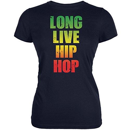 Long Live Hip Hop Navy Juniors Soft T-Shirt - Large (Ladies Junior Old Navy Shirt)