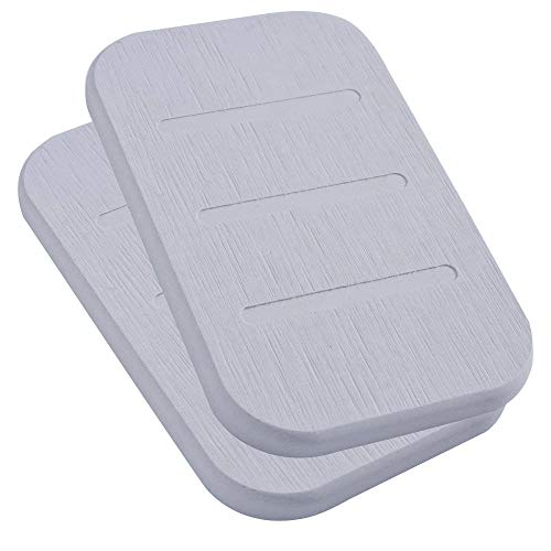Marbrasse Diatomite Soap Dish, Anti-bacterial Soap Bar Holder, Absorbent Soap Saver and Clay Coasters 2 Pack, Made from Self-dry Diatomaceous Earth by (Grey Oblong)