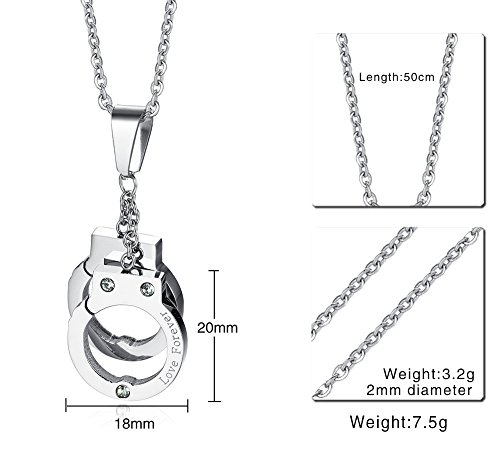 PJ Jewelry Unisex Stainless Steel Engraved Love Forever Handcuffs Pendant Necklace with 20'' Chain by PJ Jewelry (Image #1)'