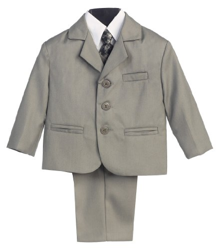 5 Piece Light Gray Suit with Shirt, Vest, and Tie (16 HUSKY) ()