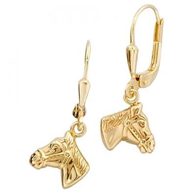 Boutons 333--G Pferdekopf Ohrringe Pferd gold Pferdeohrringe Pferdeschmuck gold