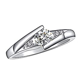 1.20 Ct Round Cut Simulated Diamond Solitaire With Accents Wedding Engagement Ring For Women's