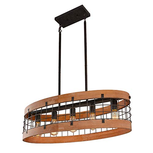 Giluta Oval Wood Chandelier Light Vintage French Country Chandelier Industrial Metal Pendant Lamp Edison Hanging Ceiling Light 5 Lights, Brown (C0063)
