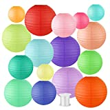 Lee-buty 16 Pcs Paper Lanterns Multicolor and Sizes 4'',6'',8'',10'' with 1 Piece of Hanging Line Chinese Hanging Decorations Round Paper Lanterns for Home,Classroom,Wedding and Party Random Color