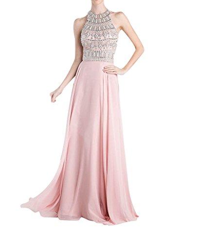 La_Marie Braut Rosa Hochwertig Steine Schulterfrei Chiffon Abendkleider Partykleider Feiernkleider Lang