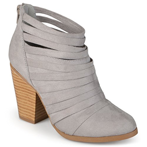 Journee Collection Womens Faux Suede Strappy Ankle Booties Grey