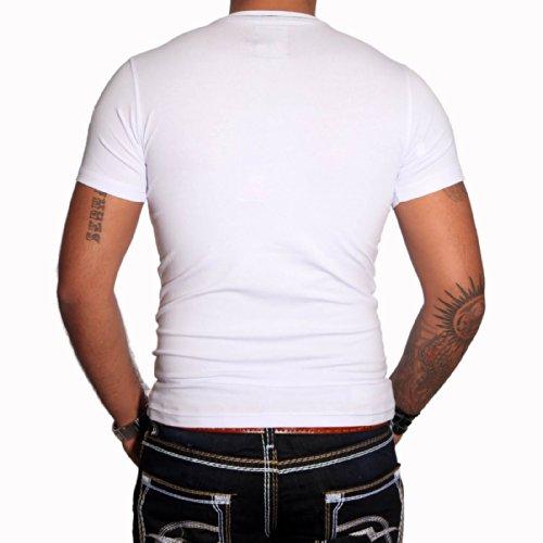 R-NEAL Clubwear Kurzarm Herren V-Neck T-Shirt Kontrast Shirt RTN-16690 NEU, Größe:M, Farbe:Weiß