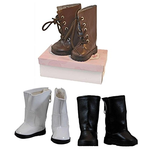 Doll Shoes Accessory Set Includes Brown Lace Up Boots, White Go-Go Boots, & Black Riding Boots. Each Pair of Boots Comes in a Shoe Box! Clothes & Accessories Fits 18 inch American Girl (White Gogo Boots Cheap)