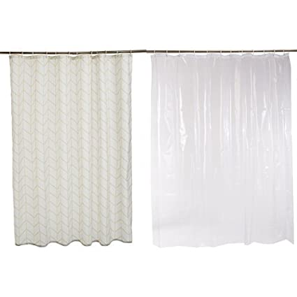 AmazonBasics Shower Curtain With Hooks Natural Herringbone And Liner Clear