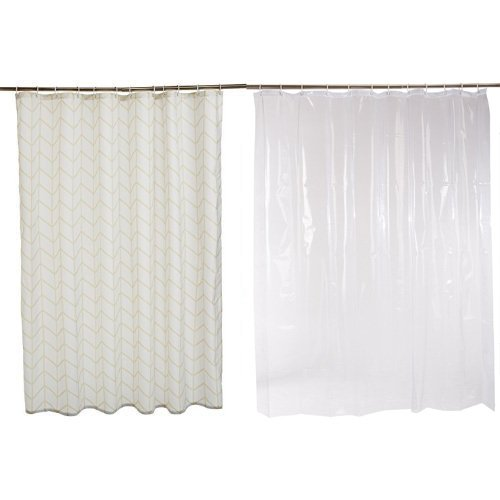 AmazonBasics Shower Curtain Natural Herringbone
