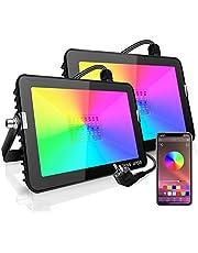 AGOTD 20 W LED-spot, RGB, spot, muziek, ritme, RGB-schijnwerper, kleurverandering, IP66, waterdicht, dimbaar, buitenspot, bestuurbaar via app, 16 miljoen kleuren en 20 modi, voor buiten, binnen en buiten, tuinfeest