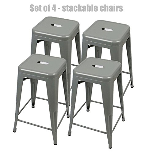Retro Classic Style School Office Kitchen Dining Room Chair Stackable Backless Metal Frame Stable Seats Indoor/Outdoor Bar Stools - Set of 4 - Grey #1049b (Melbourne Furniture Sale)