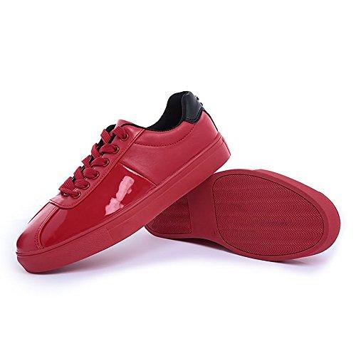 basso uomo con Color Scarpe Giallo da in pelle Rosso Xiaojuan casual Dimensione shoes tinta verniciata tacco EU 41 unita vYFxWwg7O