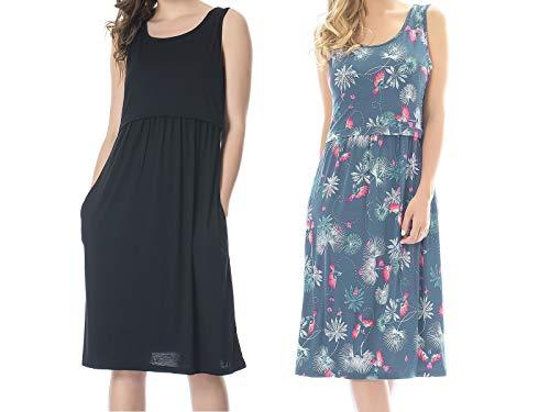 Bearsland Women's Sleeveless Maternity Dress Nursing Breastfeeding Dresses with Pockets,Black+Bluebird,L