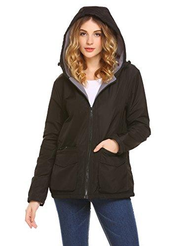 Unibelle Womens Winter Parka Hooded Coat Fleece Lined Parkas With Four Pockets, Black XL