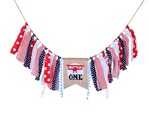 WAOUH Highchair Banner for 1st Birthday Party - Red and Blue Birthday Banner Airplane Party Supplies for Baby Shower - Airplane for Birthday Party Decorations (Airplane Party Supplies -