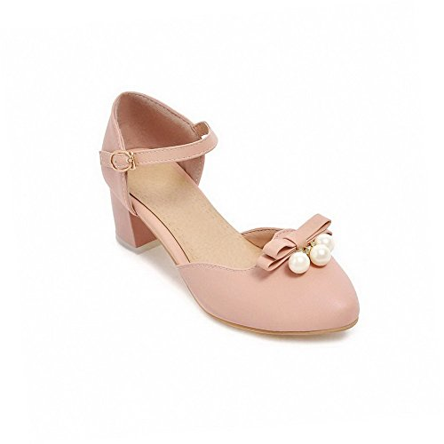 Womens Kitten Toe Pumps Shoes Closed Buckle Heels AllhqFashion Pink Round Solid IqwdXxBO