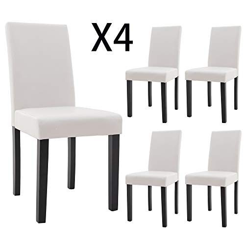 DAGONHIL Dining Chairs Leather Kitchen Parson Chair Urban Style Dining Side Chair with Solid Wood Legs,Set of 4(White)