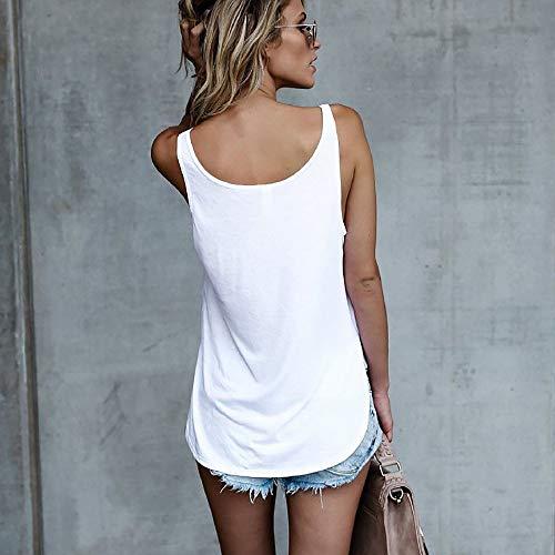 Luckycat Para Blusa Impreso Ropa Tops Sin Camisetas Sexy Casual Blanco Strappy Chaleco Cami 2 Tank Camiseta Cute Mujeres Dama Letra Camisas Mangas Top SqrSOHW