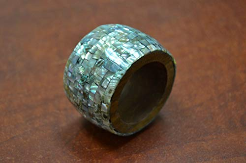 JumpingLight Carved Abalone SEA Shell Napkin Ring #T-972 Beach Wedding Nautical Decor Crafts - Beach Nautical ()