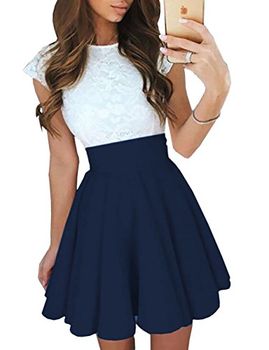 Lace Pleated Dress - Ninimour Women's Trendy Splicing High Waist Pleated Lace Mini A-line Dress Blue S