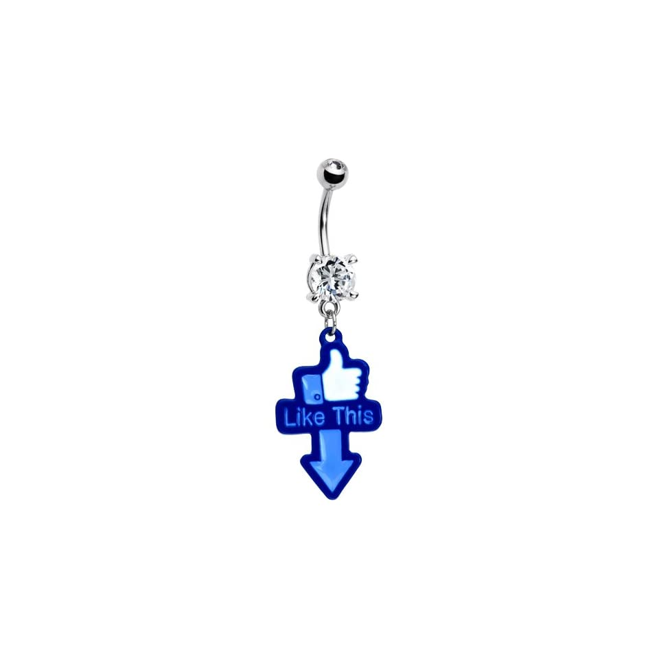 Blue Hand Thumbs Up Belly Ring