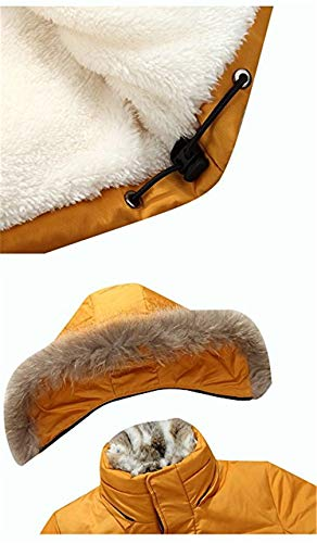 Fur Z6M6 90 Long Parka Lined Outdoor Hooded Coat Winter Down Warm Mens Mid Fur Collar Jacket Faux Detachable Yellow pxq41rpwP
