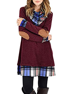 Happy Sailed Women Cowl Neck Tops Color Block Pullovers Elbow Patchs Plaid Long Tunic Blouse Dress S-XXL