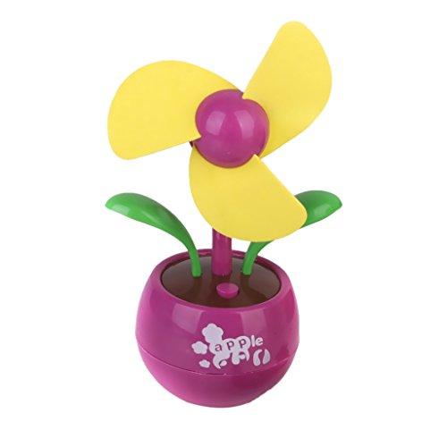 (Mini Flower USB Fan Desktop Fan Gift - Pink and)
