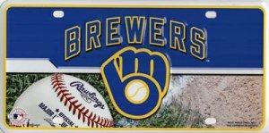 MLB Milwaukee Brewers Metal Auto Tag (Brewers Milwaukee Car Mlb)