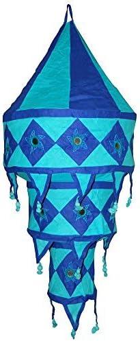 Indischer Lampenschirm Elefant Blume 75cm violett t/ürkis Baumwolle Dekolampe Orient H/ängelampe