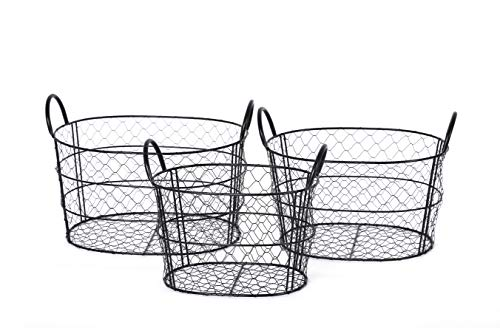 (Handcrafted 4 Home GLNY3012 3-Multi-Size Round Metal Wire Nesting Storage Baskets/Bin with handle for ingredients in Kitchen, Office, Bedroom, Bathroom, Living room)