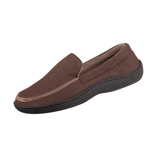 Isotoner Chandler Men's Moccasin Slippers, Memory Foam, Indoor/Outdoor Sole, Dark Chocolate, ()