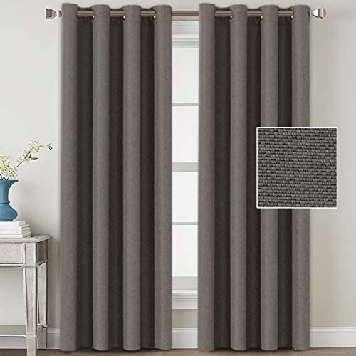 H.VERSAILTEX Linen Blackout Curtains 108 Inches Long for Bedroom Living Room Thermal Insulated Grommet Curtain Drapes Primitive Textured Linen Burlab Effect Window Draperies 2 Panels – Taupe Gray