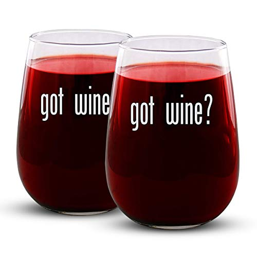 - got wine? - 2 Pack Engraved Wine Glass - Stemless - 17oz - Forget Milk! - Funny Gifts for Men and Women by Sandblast Creations